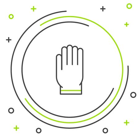 Black and green line Garden gloves icon isolated on white background. Rubber gauntlets sign. Farming hand protection, gloves safety. Colorful outline concept. Vector Illustration Vettoriali