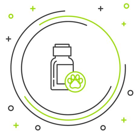 Black and green line Dog medicine bottle icon isolated on white background. Container with pills. Prescription medicine for animal. Colorful outline concept. Vector Illustration Vettoriali