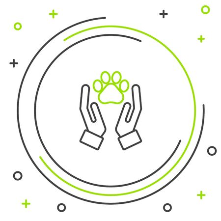 Black and green line Hands with animals footprint icon isolated on white background. Pet paw in heart. Love to the animals. Colorful outline concept. Vector Illustration