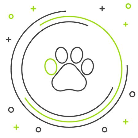 Black and green line Paw print icon isolated on white background. Dog or cat paw print. Animal track. Colorful outline concept. Vector Illustration