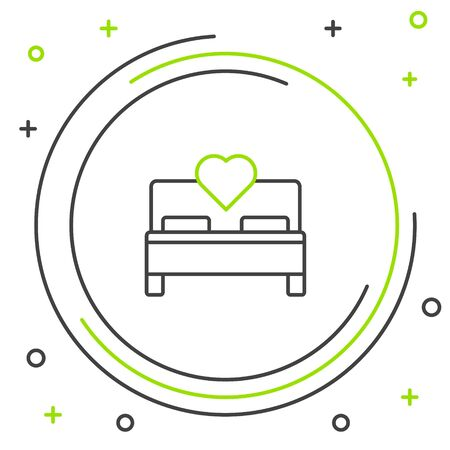 Black and green line Bedroom icon isolated on white background. Wedding, love, marriage symbol. Bedroom creative icon from honeymoon collection. Colorful outline concept. Vector Illustration Archivio Fotografico - 133269760