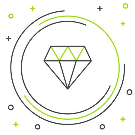 Black and green line Diamond icon isolated on white background. Jewelry symbol. Gem stone. Colorful outline concept. Vector Illustration