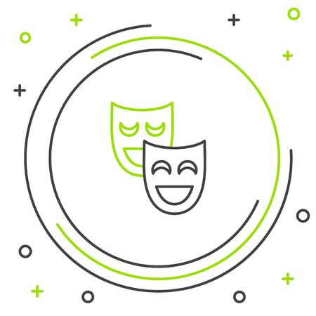 Black and green line Comedy theatrical masks icon isolated on white background. Colorful outline concept. Vector Illustration Иллюстрация