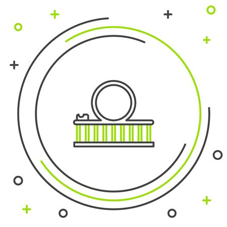Black and green line Roller coaster icon isolated on white background. Amusement park. Childrens entertainment playground, recreation park. Colorful outline concept. Vector Illustration Illustration