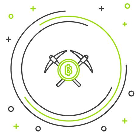 Black and green line Crossed pickaxe icon on white background. Blockchain technology, cryptocurrency mining, bitcoin, altcoins, digital money market. Colorful outline concept. Vector Illustration