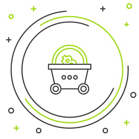 Black and green line Shopping basket with bitcoin icon on white background. Blockchain technology, cryptocurrency mining, digital money market. Colorful outline concept. Vector Illustration Stock Illustratie