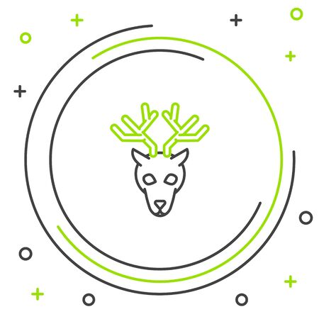 Black and green line Deer head with antlers icon isolated on white background. Colorful outline concept. Vector Illustration Stock Illustratie