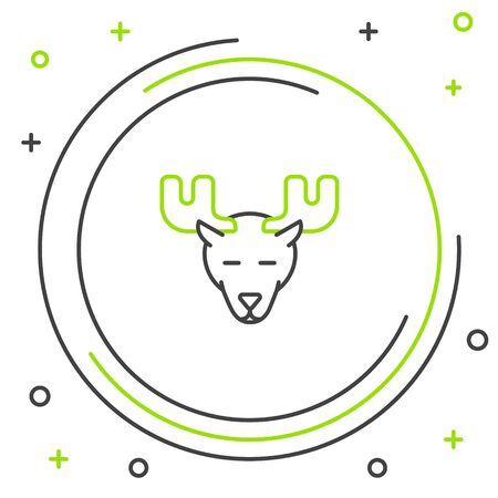 Black and green line Moose head with horns icon isolated on white background. Colorful outline concept. Vector Illustration