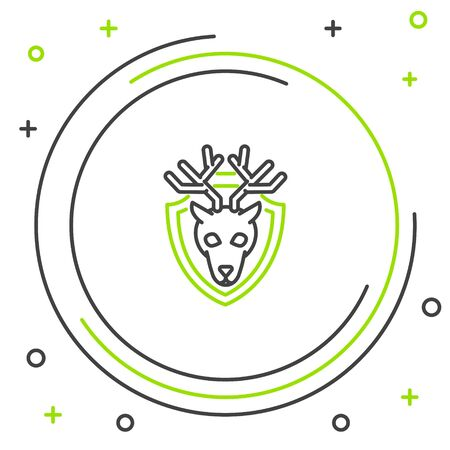 Black and green line Deer head with antlers on shield icon isolated on white background. Hunting trophy on wall. Colorful outline concept. Vector Illustration
