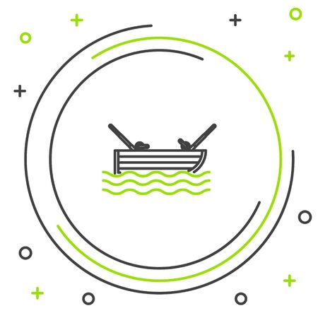 Black and green line Fishing boat with fishing rod on water icon isolated on white background. Colorful outline concept. Vector Illustration