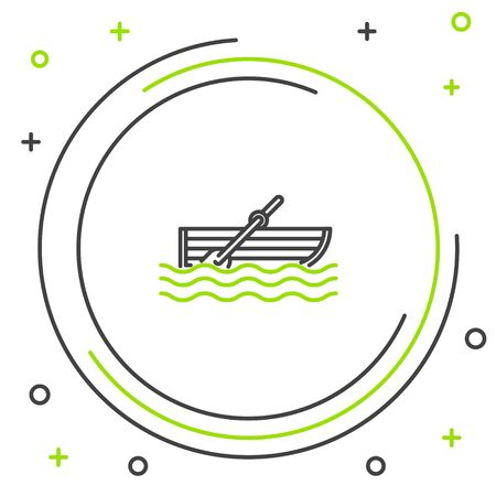 Black and green line Fishing boat with oars on water icon isolated on white background. Colorful outline concept. Vector Illustration