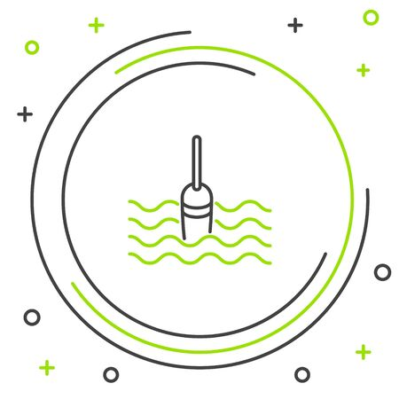 Black and green line Fishing float in water icon isolated on white background. Fishing tackle. Colorful outline concept. Vector Illustration