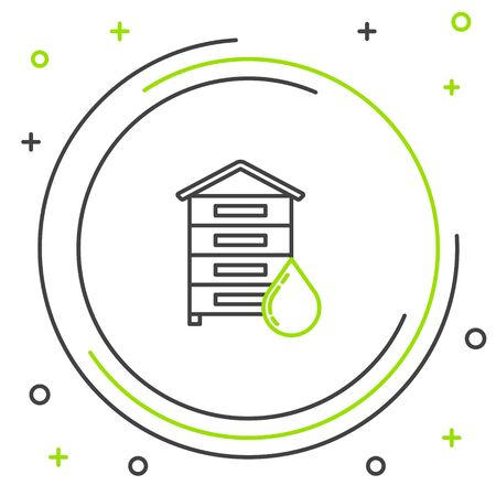 Black and green line Hive for bees icon isolated on white background. Beehive symbol. Apiary and beekeeping. Sweet natural food. Colorful outline concept. Vector Illustration