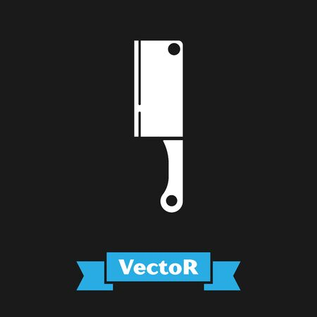 White Meat chopper icon isolated on black background. Kitchen knife for meat. Butcher knife. Vector Illustration Imagens - 133335372