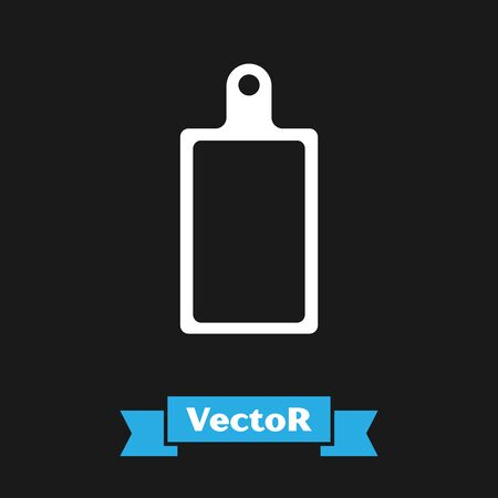 White Cutting board icon isolated on black background. Chopping Board symbol. Vector Illustration