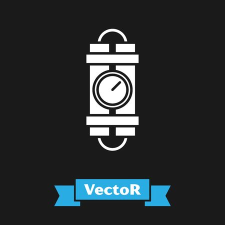 White Detonate dynamite bomb stick and timer clock icon isolated on black background. Time bomb - explosion danger concept. Vector Illustration Ilustrace