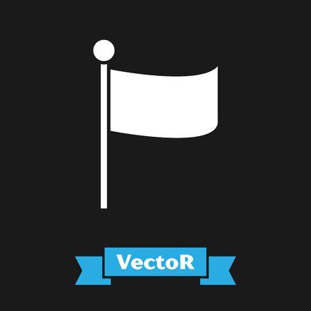 White Flag icon isolated on black background. Location marker symbol. Vector Illustration