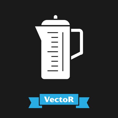 White Teapot icon isolated on black background. Vector Illustration