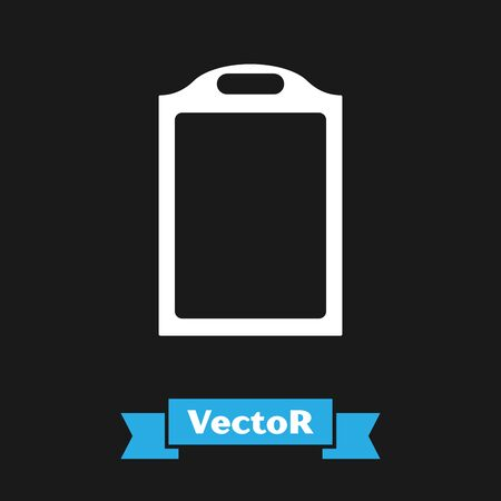 White Cutting board icon isolated on black background. Chopping Board symbol. Vector Illustration Imagens - 133341325