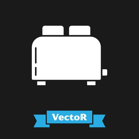 White Toaster with toasts icon isolated on black background. Vector Illustration Ilustracja