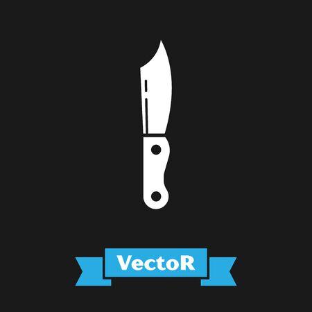 White Military knife icon isolated on black background. Vector Illustration