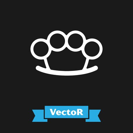 White Brass knuckles icon isolated on black background. Vector Illustration