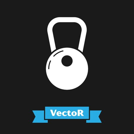White Kettlebell icon isolated on black background. Vector Illustration