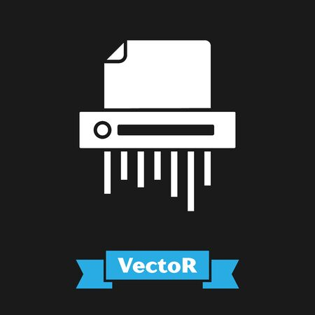 White Paper shredder confidential and private document office information protection icon isolated on black background. Vector Illustration