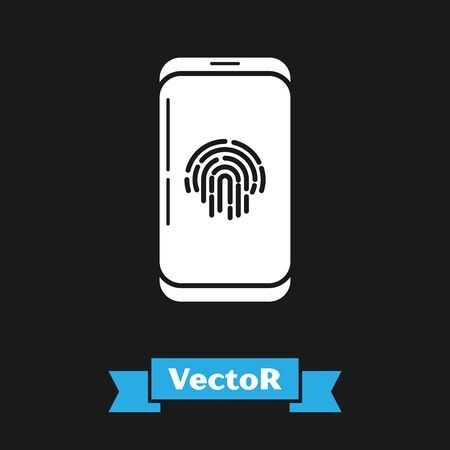 White Smartphone with fingerprint scanner icon isolated on black background. Concept of security, personal access via finger on mobile phone. Vector Illustration Иллюстрация
