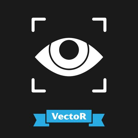 White Eye scan icon isolated on black background. Scanning eye. Security check symbol. Cyber eye sign. Vector Illustration