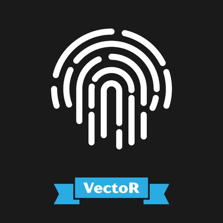 White Fingerprint icon isolated on black background. ID app icon. Identification sign. Touch id. Vector Illustration Иллюстрация