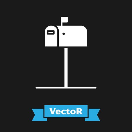 White Open mail box icon isolated on black background. Mailbox icon. Mail postbox on pole with flag. Vector Illustration Ilustração