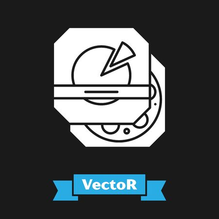 White Pizza in cardboard box icon isolated on black background. Box with layout elements. Vector Illustration Ilustracja
