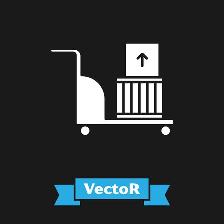 White Electric hand truck and boxes icon isolated on black background. Dolly symbol. Vector Illustration Stock Illustratie