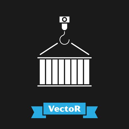 White Container on crane icon isolated on black background. Crane lifts a container with cargo. Vector Illustration Banque d'images - 133343359