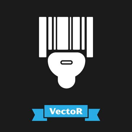 White Scanner scanning bar code icon isolated on black background. Barcode label sticker. Identification for delivery with bars. Vector Illustration