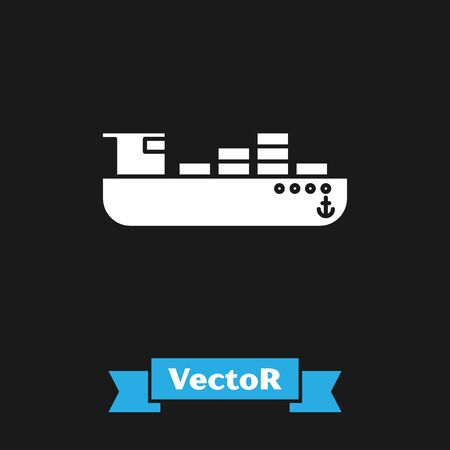White Cargo ship with boxes delivery service icon isolated on black background. Delivery, transportation. Freighter with parcels, boxes, goods. Vector Illustration Banque d'images - 133302250