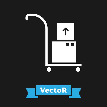 White Hand truck and boxes icon isolated on black background. Dolly symbol. Vector Illustration Stock Vector - 133343372