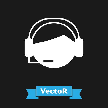 White Man with a headset icon isolated on black background. Support operator in touch. Concept for call center, client support service. Vector Illustration Çizim