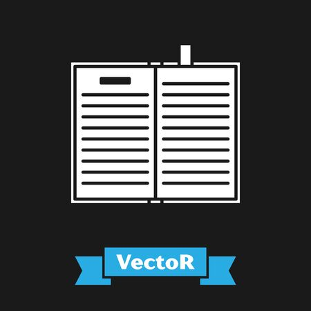 White Open science book icon isolated on black background. Vector Illustration