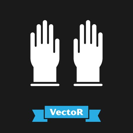 White Rubber gloves icon isolated on black background. Latex hand protection sign. Housework cleaning equipment symbol. Vector Illustration Ilustracja