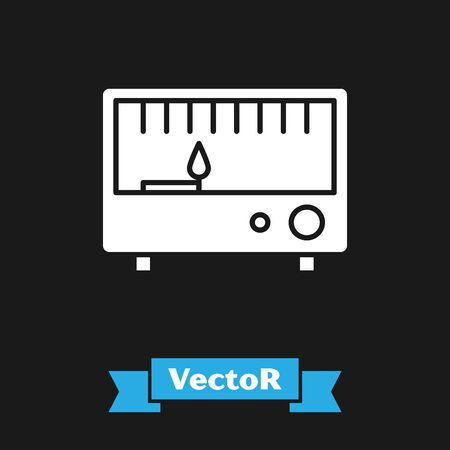 White Electrical measuring instruments icon isolated on black background. Analog devices. Electrical appliances. Vector Illustration