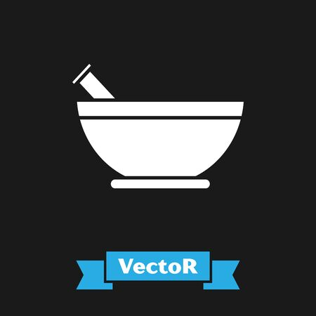 White Mortar and pestle icon isolated on black background. Vector Illustration  イラスト・ベクター素材