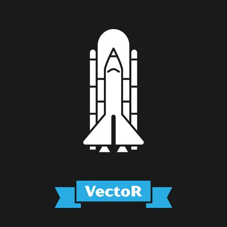 White Space shuttle and rockets icon isolated on black background. Vector Illustration