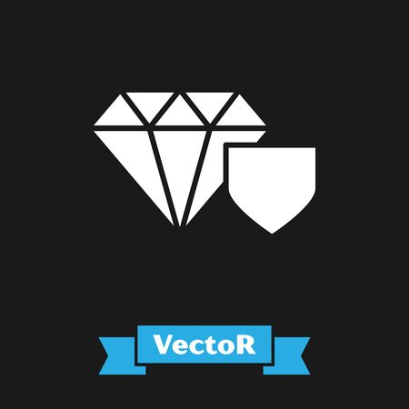 White Diamond with shield icon isolated on black background. Jewelry insurance concept. Security, safety, protection, protect concept. Vector Illustration Ilustrace