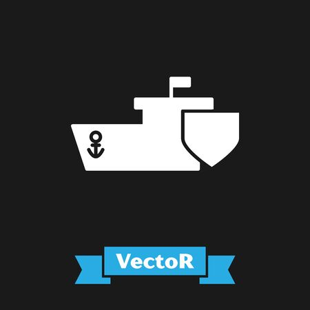 White Ship with shield icon isolated on black background. Insurance concept. Security, safety, protection, protect concept. Vector Illustration 版權商用圖片 - 133342188
