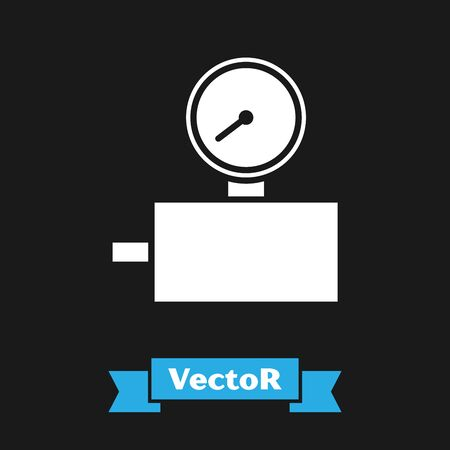 White Gauge scale icon isolated on black background. Satisfaction, temperature, manometer, risk, rating, performance, speed tachometer. Vector Illustration