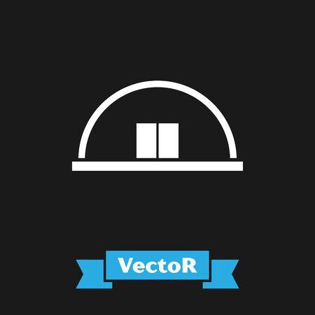 White Hangar icon isolated on black background. Vector Illustration