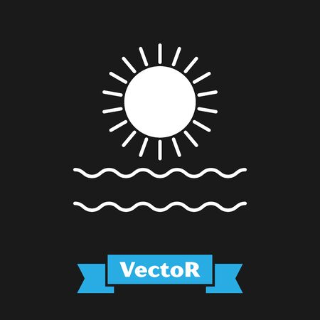 White Sun and waves icon isolated on black background. Vector Illustration