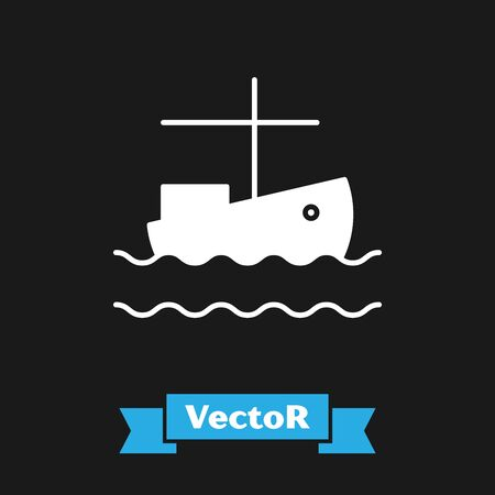 White Fishing boat on water icon isolated on black background. Vector Illustration  イラスト・ベクター素材